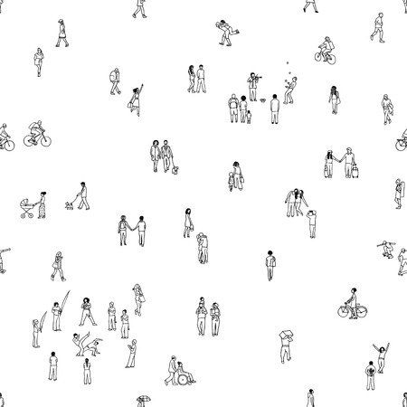 Seamless pattern of tiny people: pedestrians, people in the street, a diverse collection of tiny hand drawn men and women walking through the city Vectores