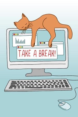 Nette konzeptionelle Darstellung einer Katze schlafend auf dem Computer-Bildschirm, was zeigt, wie wichtig eine Pause zu nehmen Vektorgrafik