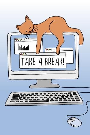 Nette konzeptionelle Darstellung einer Katze schlafend auf dem Computer-Bildschirm, was zeigt, wie wichtig eine Pause zu nehmen