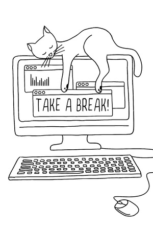 importance: Cute conceptual illustration of a cat asleep on the computer screen, demonstrating the importance of taking a break