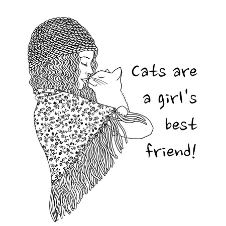 best shelter: Cats are a girls best friend - hand drawn black and white illustration of a cute girl holding her cat