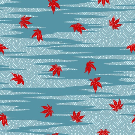 japanese maple: Simple modern seamless pattern with dotted waves and red Japanese maple leaves Illustration