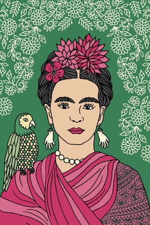 feminist: Hand drawn colorful portrait of Frida Kahlo, with floral background, pink flowers in her hair and a parrot on her shoulder
