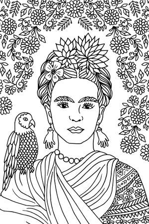 feminist: Hand drawn portrait of Frida Kahlo, with floral background, flowers in her hair and a parrot on shoulder ago Illustration
