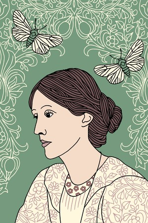 Hand drawn portrait of Virginia Woolf, with green background, butterfly moths and Victorian flower pattern