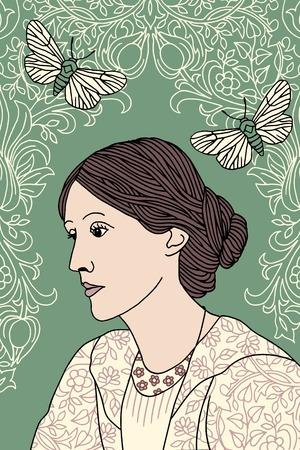 Hand getrokken portret van Virginia Woolf, met groene achtergrond, vlinder motten en Victoriaanse bloempatroon Stock Illustratie