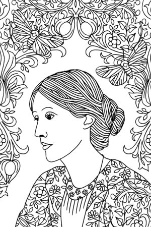 Hand drawn portrait of Virginia Woolf, with butterfly moths and Victorian flower pattern