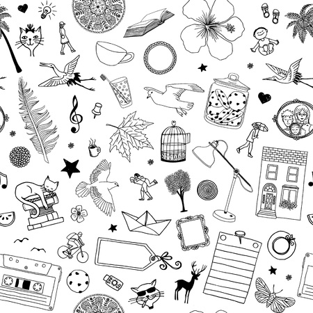 Seamless pattern with random hand drawn items