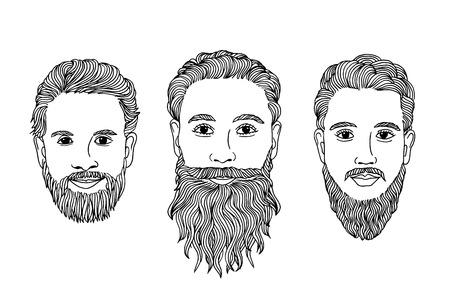 man long hair: Hand drawn men with beard Illustration
