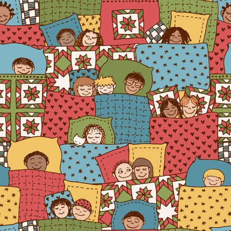 blankets: Cute seamless pattern with sleeping kids, funny hand drawn doodle faces and blankets