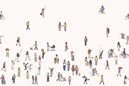 Jednolite banner malutkich ludzi, mogą być wyłożone poziomo: pieszych na ulicy, różnorodny zbiór małych ręcznie rysowane mężczyzn i kobiet chodzących po mieście Ilustracje wektorowe