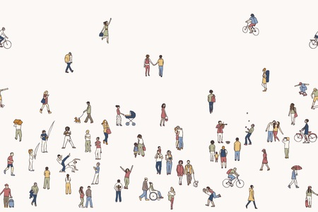 Seamless banner of tiny people, can be tiled horizontally: pedestrians in the street, a diverse collection of small hand drawn men and women walking through the city Imagens - 69880986