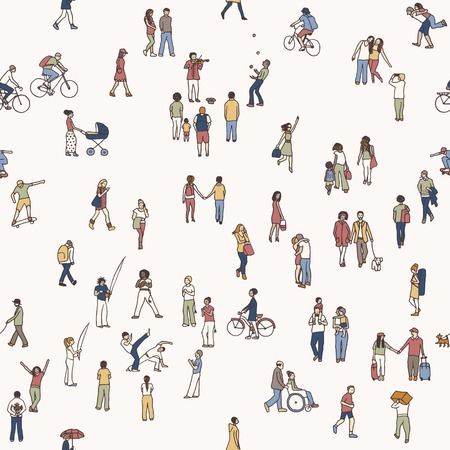 Seamless pattern of tiny people: pedestrians in the street, a diverse collection of small hand drawn men and women walking through the city Ilustracja