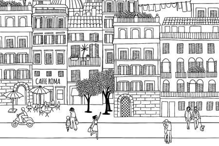 Rzym - Ręcznie rysowane miejski scena maleńkich ludzi chodzących po mieście