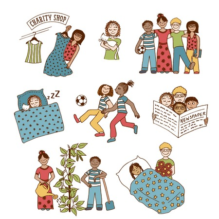 hand work: Collection of hand drawn children involved in various activities, like playing, sleeping, reading, caring for one another and doing charitable work Illustration