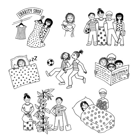 sociable: Collection of hand drawn children involved in various activities, like playing, sleeping, reading, caring for one another and doing charitable work Illustration