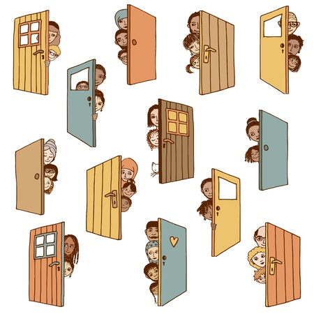 Funny and cute hand drawn illustration of various people and children hiding behind doors, or opening doors to welcome guests