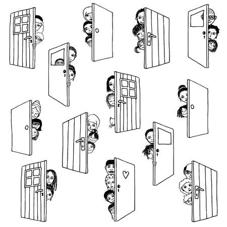 De grappige en leuke hand getrokken illustratie van de verschillende mensen en kinderen die zich verschuilen achter deuren, of het openen van de deuren om gasten te verwelkomen