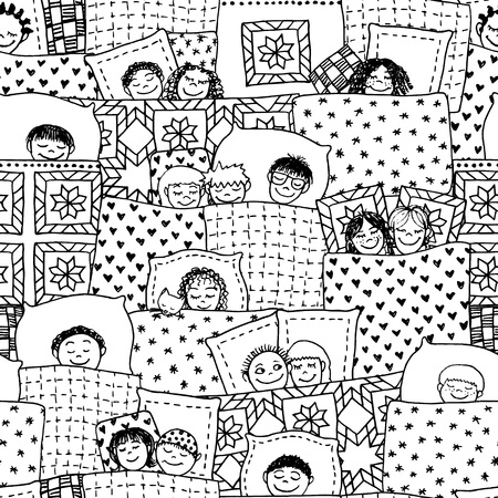 woman lying in bed: Hand drawn seamless pattern with cute sleeping kids in black and white