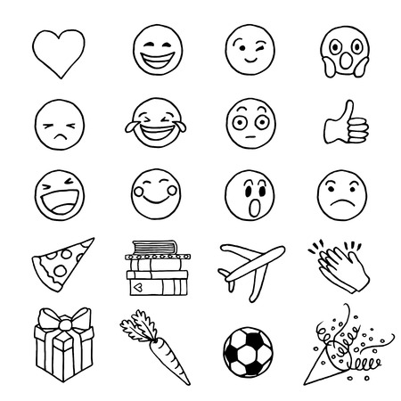 Hand drawn doodle emoji Vektorové ilustrace