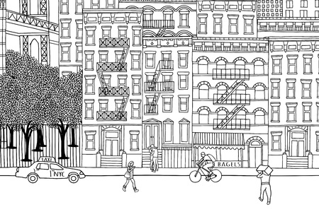New York City - Hand drawn urban scene of tiny people walking through NY