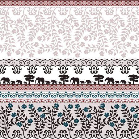 animal print: Modelo inconsútil lindo con las flores y los elefantes Vectores
