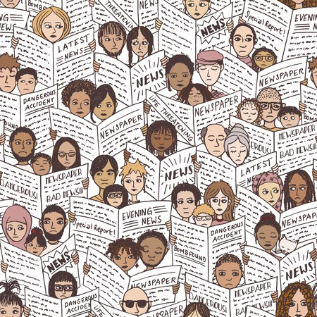 fearful: Bad news! Seamless pattern with diverse people, adults and children, reading newspapers, with shocked, fearful and sad facial expressions