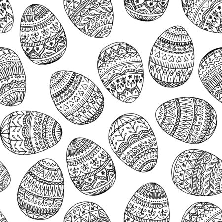 Seamless pattern: Easter eggs with detailed, hand drawn pattern Illustration