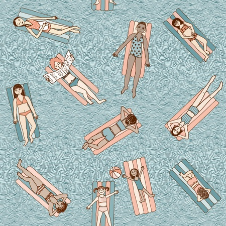 Girls and women lying on air mattresses in swimming pool, top view, seamless pattern