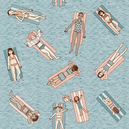 Mädchen und Frauen liegen auf Luft Matratzen im Schwimmbad, Draufsicht, nahtlose Muster