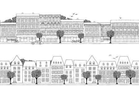 Two hand drawn seamless city banners - Luxembourg & Oslo style houses Ilustração