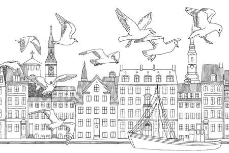 Aves sobre Copenhague - dibujado a mano ilustración en blanco y negro de la ciudad con gaviotas Foto de archivo - 74490682