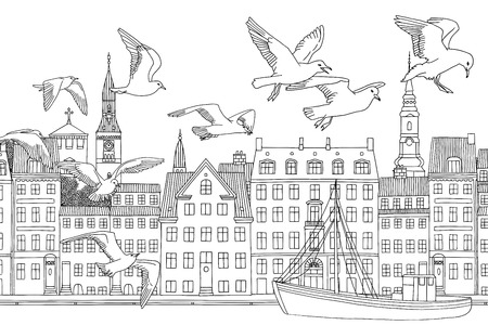 Birds over Copenhagen - hand drawn black and white illustration of the city with seagulls