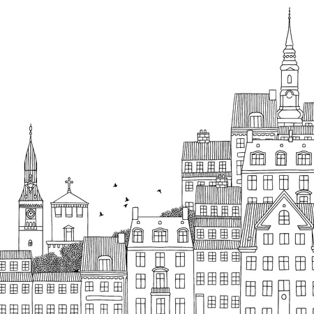 Hand drawn black and white illustration of Copenhagen, Denmark with empty space for text