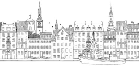 Copenhagen, Denmark, seamless banner of the city%u2019s skyline. Illustration