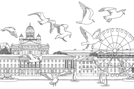 Birds over Helsinki - hand drawn black and white illustration of the city Çizim