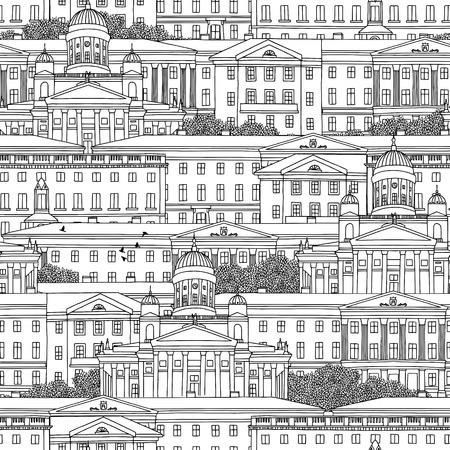 Hand drawn seamless pattern of Helsinki Banco de Imagens - 74490690