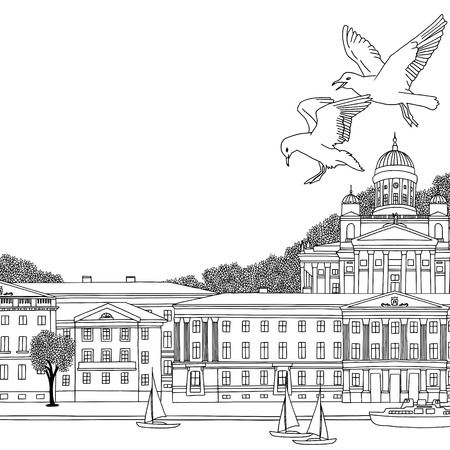 Hand drawn black and white illustration of Helsinki, Finland with empty space for text Banco de Imagens - 74490691