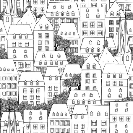 Hand drawn seamless pattern of Luxembourg style houses Banco de Imagens - 74490698