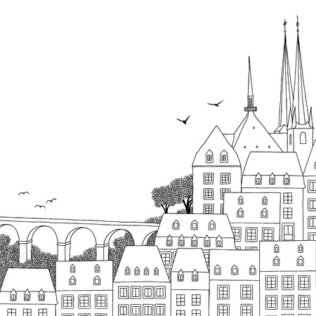 Hand drawn black and white illustration of Luxembourg City with empty space for text