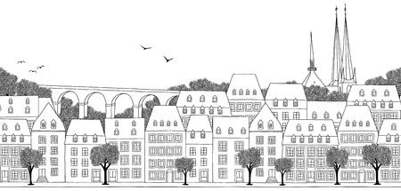 Luxemburgse stad, Luxemburg - Naadloze banner van de stad% u2019s skyline Vector Illustratie