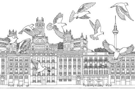 tv tower: Birds over Madrid - hand drawn black and white illustration of the city with a flock of pigeons