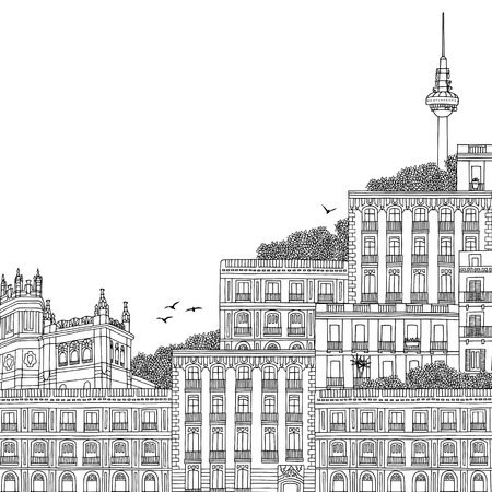 Hand drawn black and white illustration of Madrid, Spain, with TV Tower in the background Banco de Imagens - 74490703