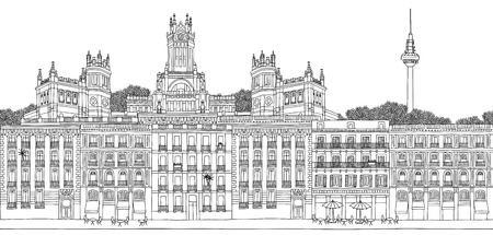 Madrid, Spain - Seamless banner of the city's skyline, hand drawn black and white illustration Vectores