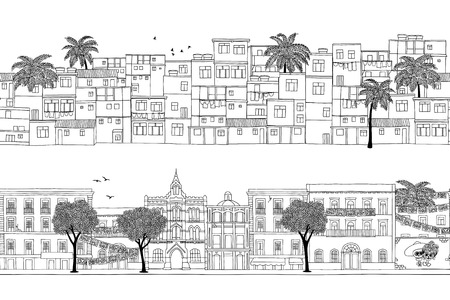 Two seamless banners with South American houses, poor and wealthy homes Illustration