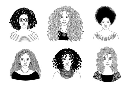 Hand drawn black and white illustration of six young women with different types of curly hair 矢量图像