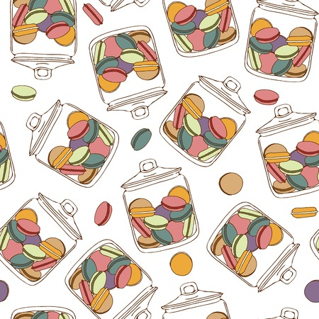 Seamless pattern with a jar full of colorful macarons