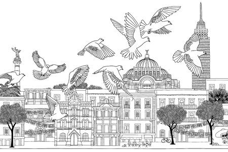 Birds over Mexico - hand drawn black and white illustration of the city with a flock of pigeons or doves