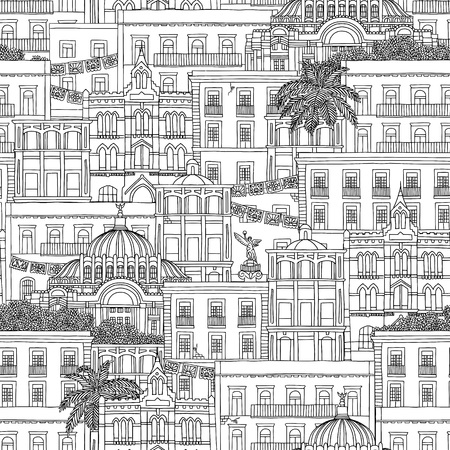 Hand drawn seamless pattern of Mexico, with Mexican houses and the Palacio de Bellas Artes Banco de Imagens - 76730014