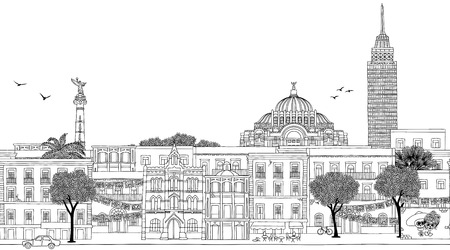 Mexico City, Mexico - Seamless banner of the skyline, hand drawn black and white illustration Banco de Imagens - 76730010